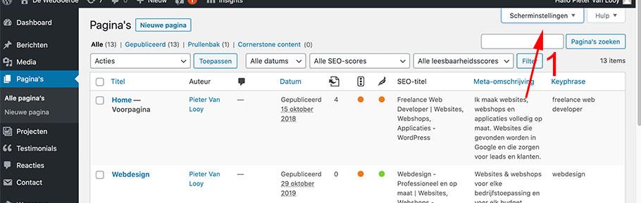 WordPress pagina overzicht