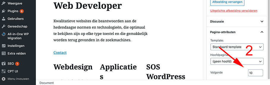 WordPress pagina editor