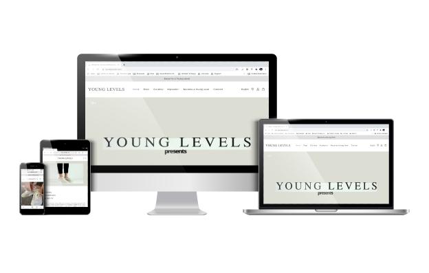 Mockup webshop Young Levels